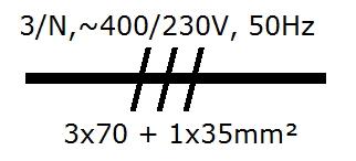 Symbol Drehstromleitung 400V, 50Hz, 3 Polleiter, von 70mm² und Neutral von 35mm²