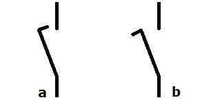 Symbol Schliesskontakt mit vorzeitiger oder verzögerter Schliessung