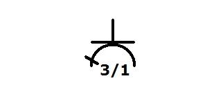 Symbol Steckdose dreifach davon eine geschaltet