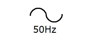 Symbol Wechselstrom mit Frequenzangabe