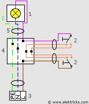 Schaltplan Wechselschaltung 2 Schalter 1 Lampe
