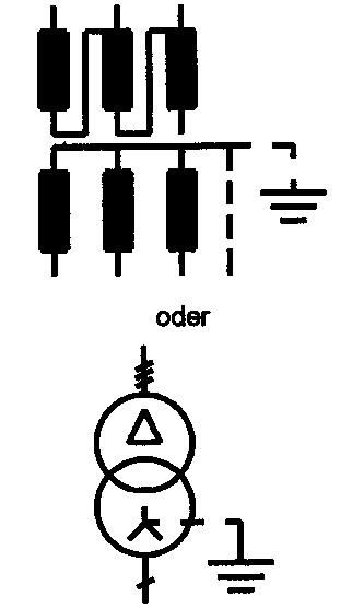 Symbol Drehstromtransformator (Netzransformator)