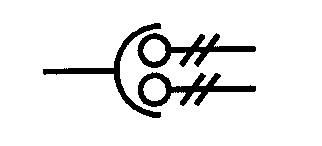 Symbol Spannungswandler mit zwei Sekundärwicklungen