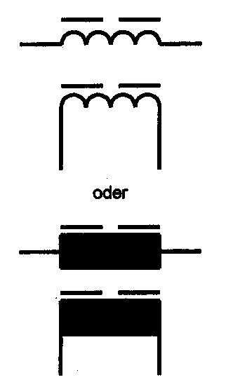 Symbol Spule mit Luftspalt im Magnetkern