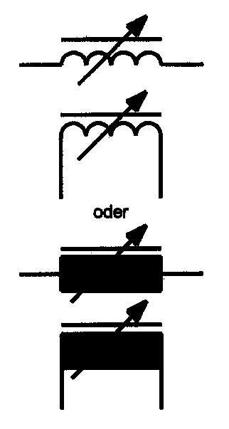 Symbol Spule mit Magnetkern, stetig verstellbar