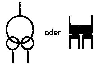 Symbol Transformator mit zwei Sekundärwicklungen