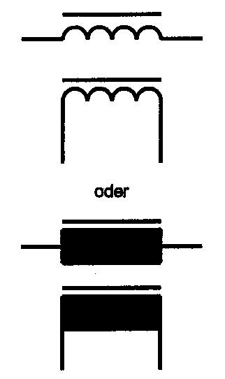 Symbole Spule mit geschlossenem Magnetkern